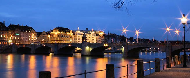 Basel Switzerland at night